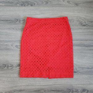J Crew Ultra Eyelet Red No.2 Pencil Cotton Skirt